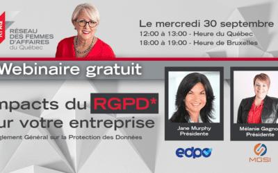 Webinaire – Les impacts du RGPD sur les entreprises canadiennes avec Jane Murphy et Mélanie Gagnon